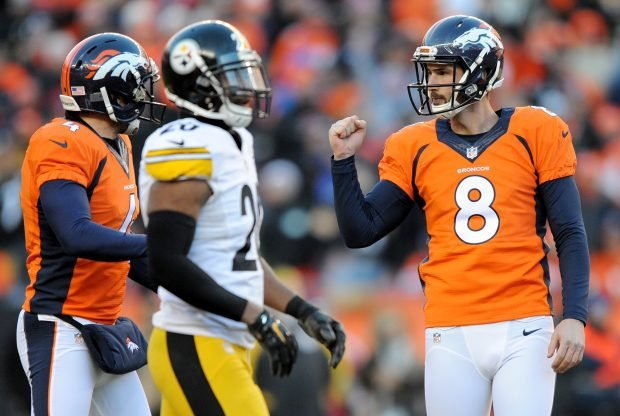 DENVER, CO - JANUARY 17: Brandon McManus #8 of the Denver Broncos celebrates after kicking a 51 yard field goal against the Pittsburgh Steelers at the end of the first half during the AFC Divisional Playoff Game at Sports Authority Field at Mile High on January 17, 2016 in Denver, Colorado. (Photo by Dustin Bradford/Getty Images)