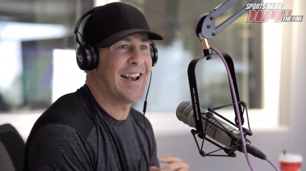 A screenshot of Brandon Stokley finding out, live on air, that he's been elected to the Louisiana Sports Hall of Fame.