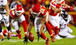 KANSAS CITY, MO - OCTOBER 30: Cornerback Marcus Peters #22 of the Kansas City Chiefs runs down fumble on his way to a touchdown against the Denver Broncos during the first quarter of the game at Arrowhead Stadium on October 30, 2017 in Kansas City, Missouri. ( Photo by Jamie Squire/Getty Images )