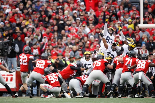 Tyler Durbin #92 of the Ohio State Buckeyes kicks a field goal to force overtime against the Michigan Wolverines at Ohio Stadium on November 26, 2016 in Columbus, Ohio. (Photo by Gregory Shamus/Getty Images)