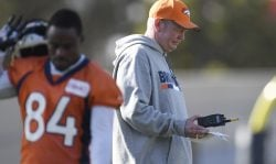 Denver Broncos interim offensive coordinator Bill Musgrave looks at a sheet of paper during practice at Dove Valley on Wednesday, November 22, 2017. Paxton Lynch will start on Sunday against the Oakland Raiders. (Photo by AAron Ontiveroz/The Denver Post via Getty Images)