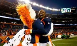 Outside linebacker Von Miller #58 of the Denver Broncos celebrates with Miles the mascot after a 23-0 victory against the New York Jets at Sports Authority Field at Mile High on December 10, 2017 in Denver, Colorado. (Photo by Justin Edmonds/Getty Images)