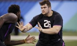 Notre Dame offensive lineman Quenton Nelson in action during the 2018 NFL Combine at Lucas Oil Stadium on March 2, 2018 in Indianapolis, Indiana. (Photo by Joe Robbins/Getty Images)