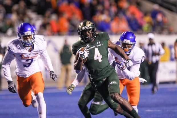 Wide receiver Michael Gallup #4 of the Colorado State Rams breaks into the open for a long run during second half action against the Boise State Broncos on October 15, 2016 at Albertsons Stadium in Boise, Idaho. Boise State won the game 28-23. (Photo by Loren Orr/Getty Images)