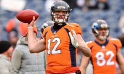 Quarterback Paxton Lynch #12 of the Denver Broncos throws as he warms up before a game against the Kansas City Chiefs at Sports Authority Field at Mile High on December 31, 2017 in Denver, Colorado. (Photo by Dustin Bradford/Getty Images)