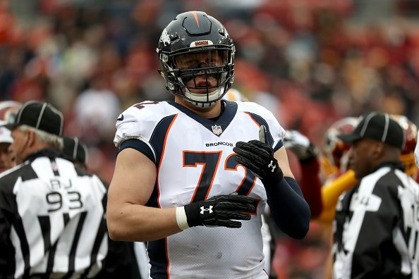 Offensive tackle Garett Bolles (72) of the Denver Broncos looks on against the Washington Redskins at FedEx Field on Dec. 24, 2017 in Landover, Maryland. (Photo by Rob Carr/Getty Images)