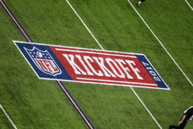 NFL Kickoff 2017 field logo during the game between between the Minnesota Vikings and the New Orleans Saints on September 11, 2017 at the U.S. Bank Stadium in Minneapolis, MN. Minnesota Vikings win 29-19. (Photo by Stephen Lew/Icon Sportswire via Getty Images)