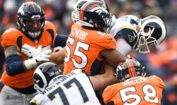 Linebacker Bradley Chubb #55 and linebacker Von Miller #58 of the Denver Broncos sack quarterback Jared Goff #16 of the Los Angeles Rams at Broncos Stadium at Mile High on October 14, 2018 in Denver, Colorado. (Photo by Dustin Bradford/Getty Images)