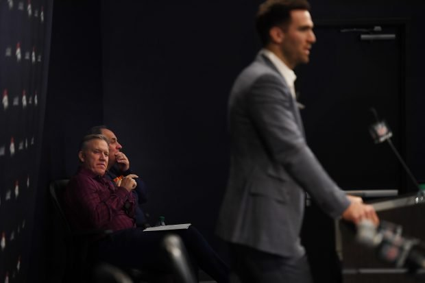 The Denver Broncos Pres. of Football Ops./GM John Elway and Head Coach Vic Fangio listen during a press conferences to introduce their new quarterback Joe Flacco March 15, 2019, in Englewood, Colorado. (Photo by Joe Amon/MediaNews Group/The Denver Post via Getty Images)