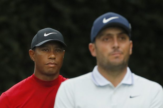 Tiger Woods of the United States and Francesco Molinari of Italy stand on the second tee during the final round of the Masters at Augusta National Golf Club on April 14, 2019 in Augusta, Georgia. (Photo by Kevin C. Cox/Getty Images)
