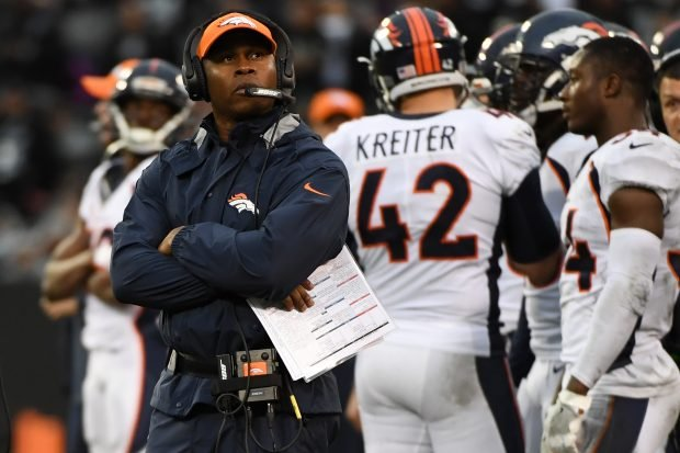 Head coach Vance Joseph of the Denver Broncos watches a replay during their NFL game against the Oakland Raiders at Oakland-Alameda County Coliseum on November 26, 2017 in Oakland, California. (Photo by Robert Reiners/Getty Images)