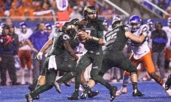 Quarterback Nick Stevens No. 7 of the Colorado State Rams looks for an open receiver during first half action against the Boise State Broncos on October 15, 2016 at Albertsons Stadium in Boise, Idaho. (Photo by Loren Orr/Getty Images)