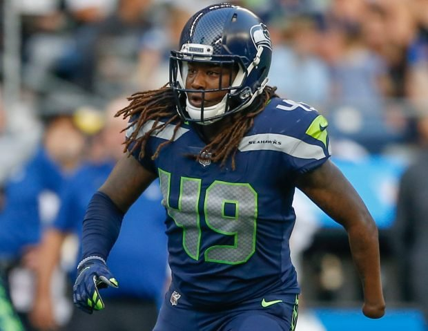 Linebacker Shaquem Griffin #49 of the Seattle Seahawks defends against the Indianapolis Colts at CenturyLink Field on August 9, 2018 in Seattle, Washington. (Photo by Otto Greule Jr/Getty Images)