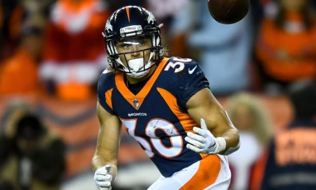 Running back Phillip Lindsay #30 of the Denver Broncos waits for a pass in the first quarter of a game against the Cleveland Browns at Broncos Stadium at Mile High on December 15, 2018 in Denver, Colorado. (Photo by Dustin Bradford/Getty Images)