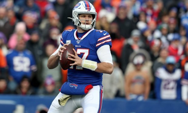 ORCHARD PARK, NEW YORK - NOVEMBER 24: Josh Allen #17 of the Buffalo Bills holds the ball during the first quarter of an NFL game against the Denver Broncos at New Era Field on November 24, 2019 in Orchard Park, New York. (Photo by Bryan M. Bennett/Getty Images)