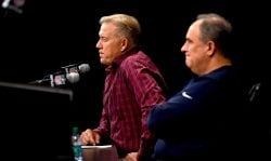 ENGLEWOOD, CO - MARCH 15: The Denver Broncos Pres. of Football Ops./GM John Elway and Head Coach Vic Fangio speak about the team during a press conferences to introduce their new quarterback Joe Flacco (not pictured) March 15, 2019, in Englewood, Colorado. (Photo by Joe Amon/MediaNews Group/The Denver Post via Getty Images)