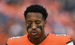 Courtland Sutton (14) of the Denver Broncos gets pumped up before the first quarter against the Detroit Lions on Sunday, December 22, 2019. (Photo by AAron Ontiveroz/MediaNews Group/The Denver Post via Getty Images)