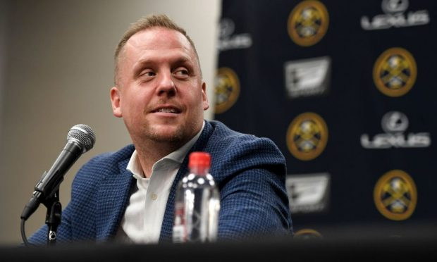 Denver Nuggets president of basketball operations Tim Connelly speaks to the media on Tuesday, May 21, 2019. (Photo by AAron Ontiveroz/MediaNews Group/The Denver Post via Getty Images)