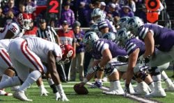 A view of the Kansas State Wildcats offensive line before the snap in the third quarter of a Big 12 football game between the Oklahoma Sooners and Kansas State Wildcats on October 26, 2019 at Bill Snyder Family Stadium in Manhattan, KS. (Photo by Scott Winters/Icon Sportswire via Getty Images)