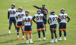 ENGLEWOOD, CO - AUGUST 16: Outside linebackers coach John Pagano of the Denver Broncos works with players, from left, linebacker Von Miller #58, linebacker Bradley Chubb #55, linebacker Derrek Tuszka #48, linebacker Malik Reed #59, linebacker Jeremiah Attaochu #97 and linebacker Malik Carney #53 during a training session at UCHealth Training Center on August 16, 2020 in Englewood, Colorado. (Photo by Dustin Bradford/Getty Images)
