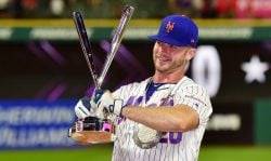 CLEVELAND, OHIO - JULY 08: Pete Alonso of the New York Mets poses with the trophy after winning the T-Mobile Home Run Derby at Progressive Field on July 08, 2019 in Cleveland, Ohio. (Photo by Jason Miller/Getty Images)