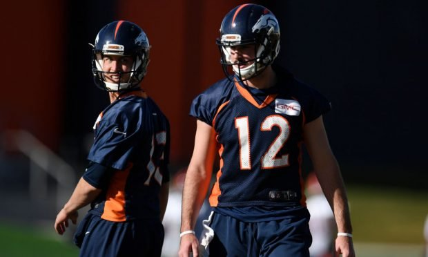 ENGLEWOOD, CO - NOVEMBER 22: Paxton Lynch (12) of the Denver Broncos and Trevor Siemian (13) take their reps during practice at Dove Valley on Wednesday, November 22, 2017. Paxton Lynch will start on Sunday against the Oakland Raiders. (Photo by AAron Ontiveroz/The Denver Post via Getty Images)